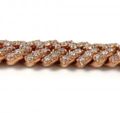 14k yellow white or rose gold diamond miami tight link chain 18-30