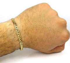 10k yellow gold solid miami bracelet 8 inch 5mm
