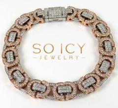 14k two tone diamond byzantine bracelet 8.50