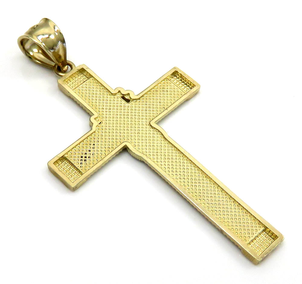14k two tone large rosary jhs cross