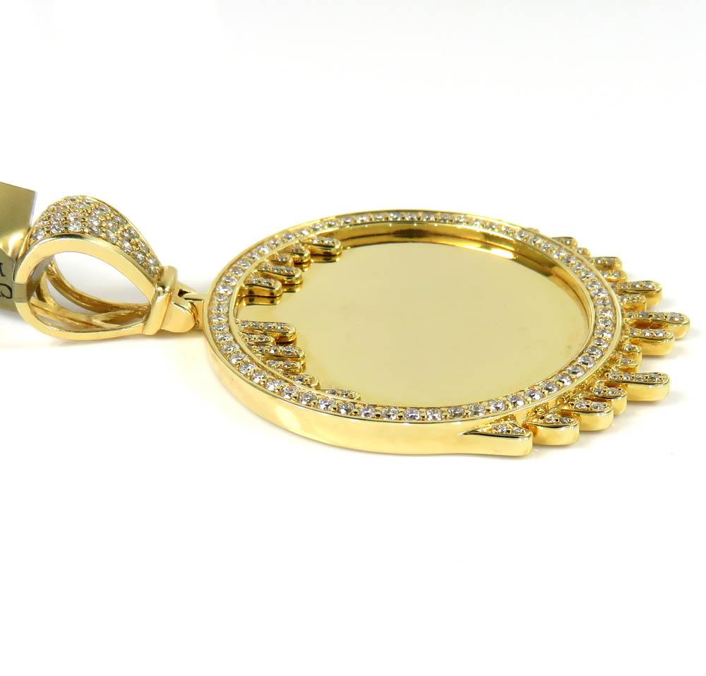 10k yellow gold large diamond drip picture pendant 1.65ct