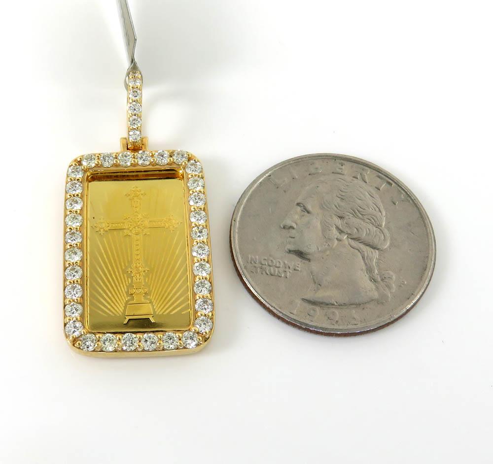 10k yellow gold diamond frame with 24k gold cross bar pendant 1.18ct