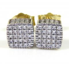 10k yellow gold 5x5 diamond cube earrings 0.21ct