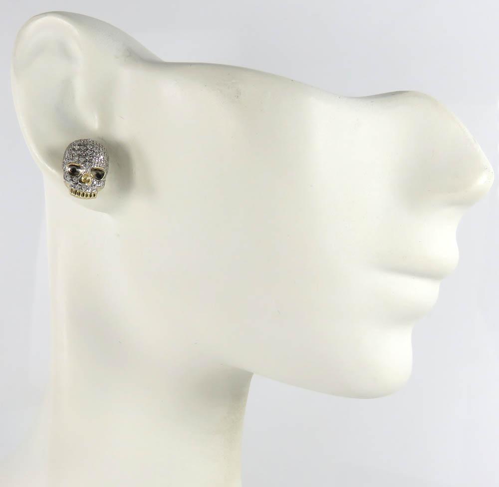 10k yellow gold black & white diamond skull earrings 0.23ct