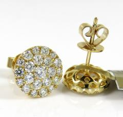 10k yellow gold round diamond 10mm cluster earrings 1.12ct