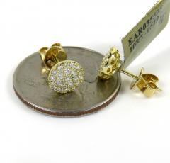 10k yellow gold round diamond 7.50mm cluster earrings 0.45ct