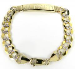 10k two tone diamond cut id bracelet 9 inch 10mm