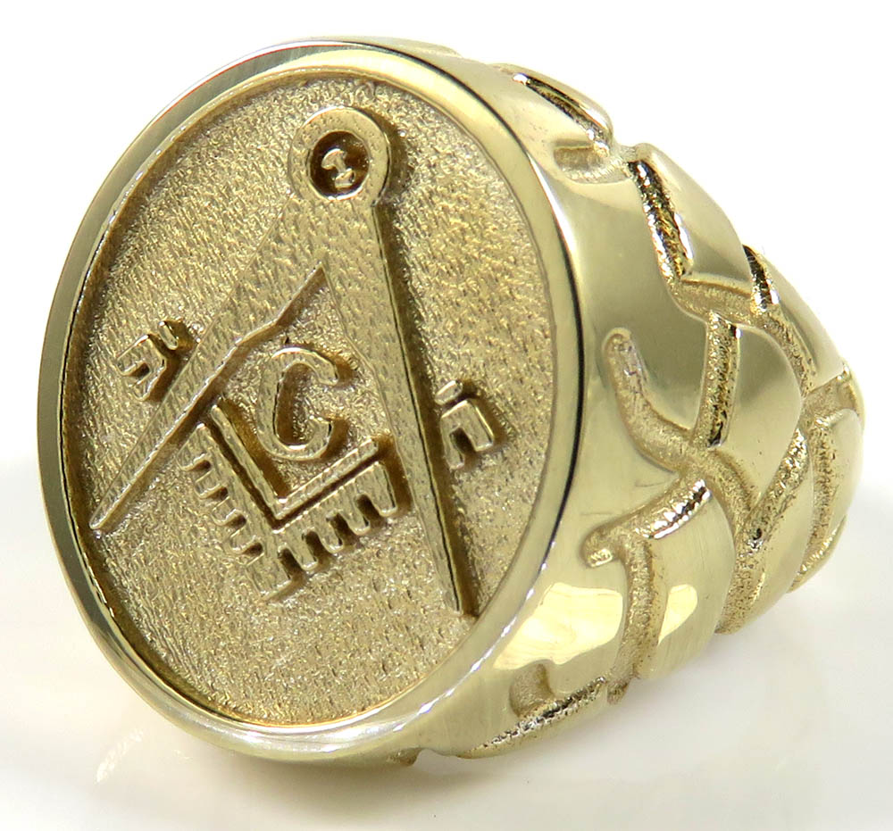 10k yellow gold enamel color nugget free mason g  ring