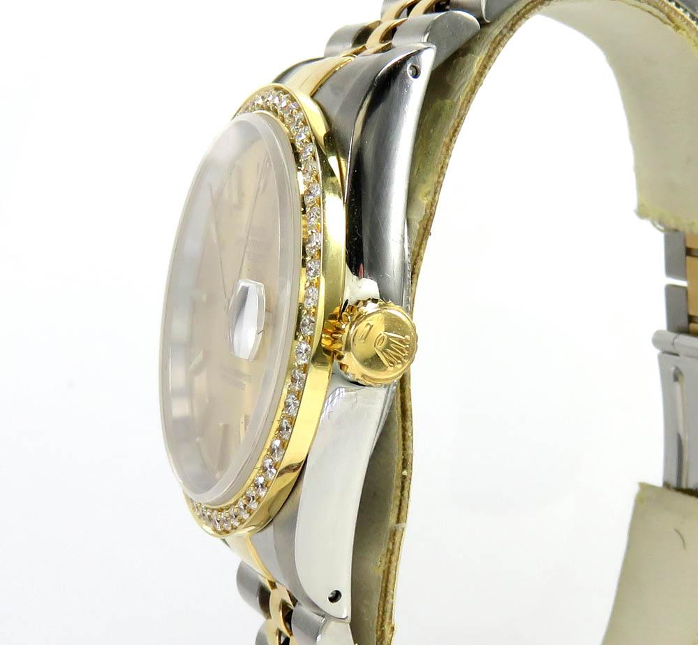 Rolex date just perpetual two tone 36mm custom diamond bezel 1.50ct