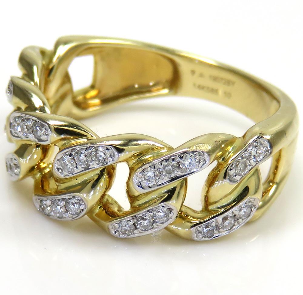 14k yellow gold solid diamond 8.5mm cuban ring 0.37ct