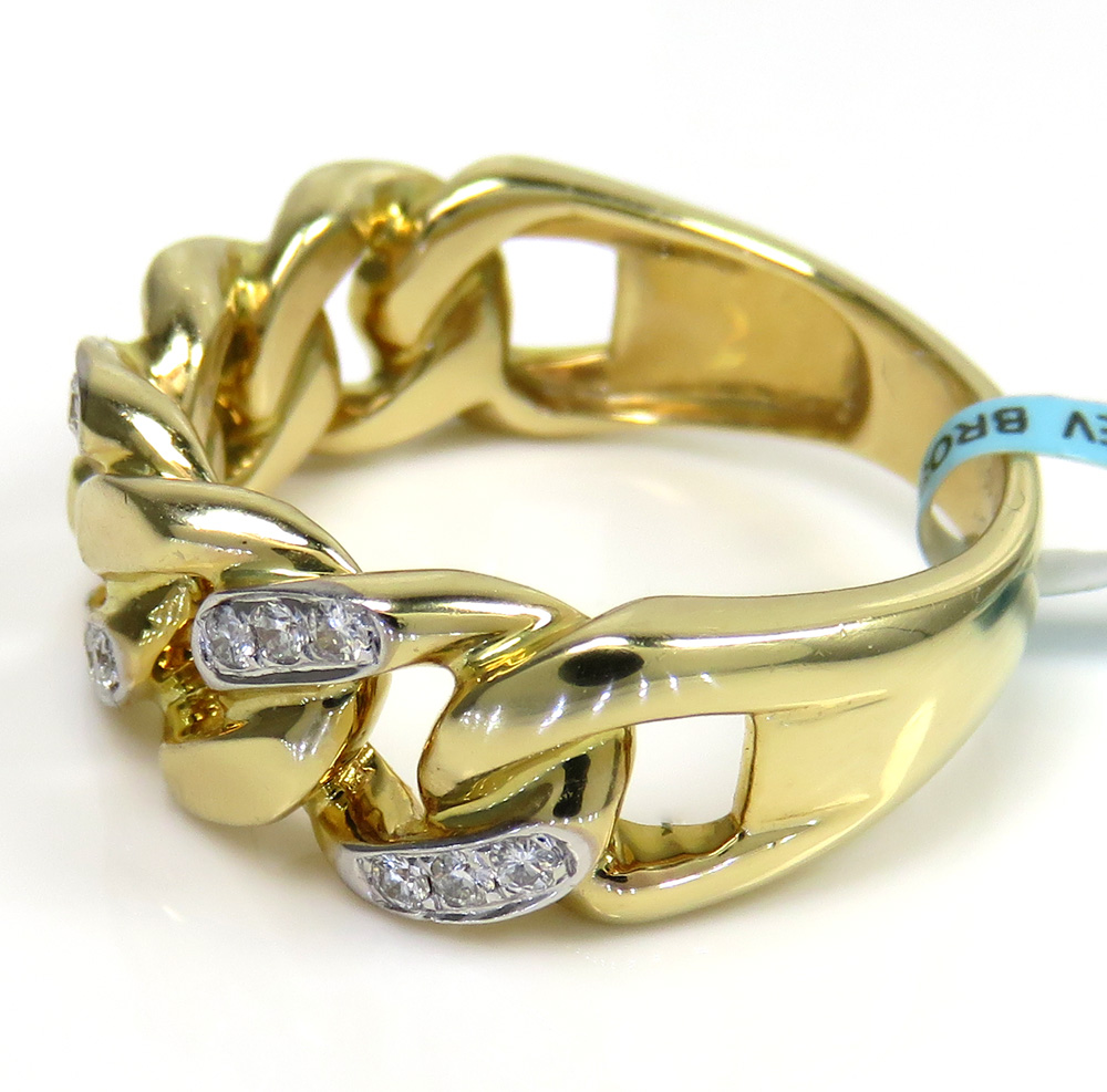 14k yellow gold solid diamond 8.5mm cuban ring 0.26ct