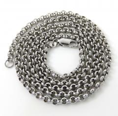 14k white gold hollow rolo link chain 16-22 inch 3.20mm