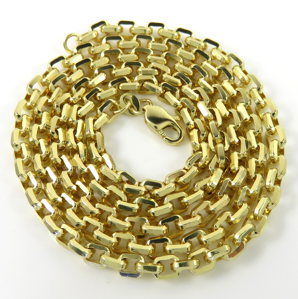10k yellow gold solid beveled edge cable chain 20-30 inches 3.60mm