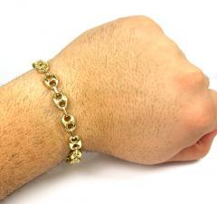 14k yellow gold hollow gucci puffed link bracelet 9mm 8.75