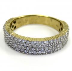 10k yellow gold four row diamond wedding band ring 1.27ct