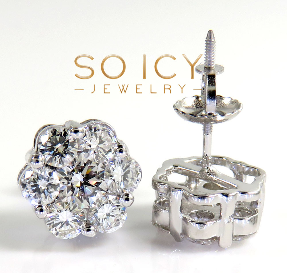 14k yellow white or rose  gold round 14 diamond cluster 9mm earrings 1.75ct