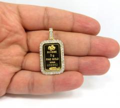 14k yellow gold large diamond credit suisse bar pendant 1.35ct