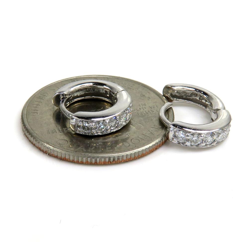 14k white gold small diamond huggie hoops 0.27ct