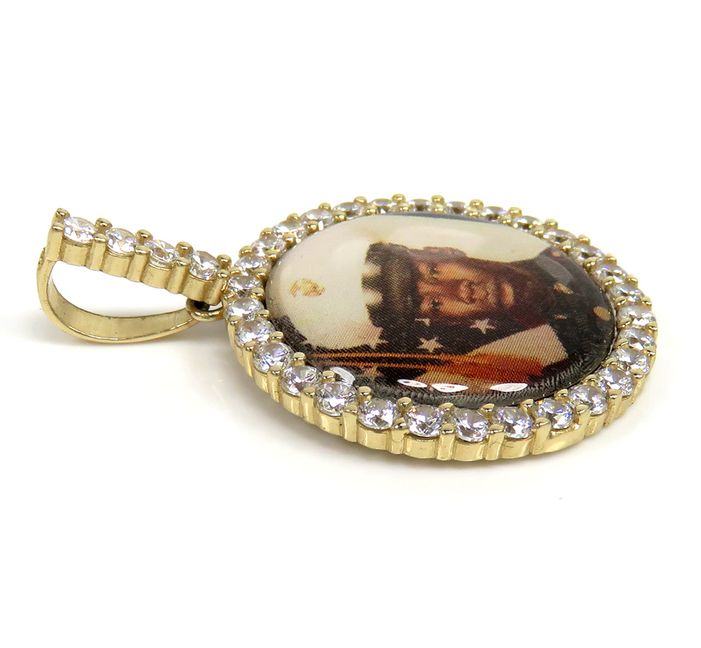 14k yellow gold small cz picture pendant 1.00ct