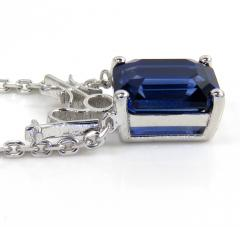 .925 sterling silver octagon cut blue sapphire cable link necklace 16-22