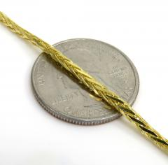 14k yellow gold skinny solid wheat bracelet 8