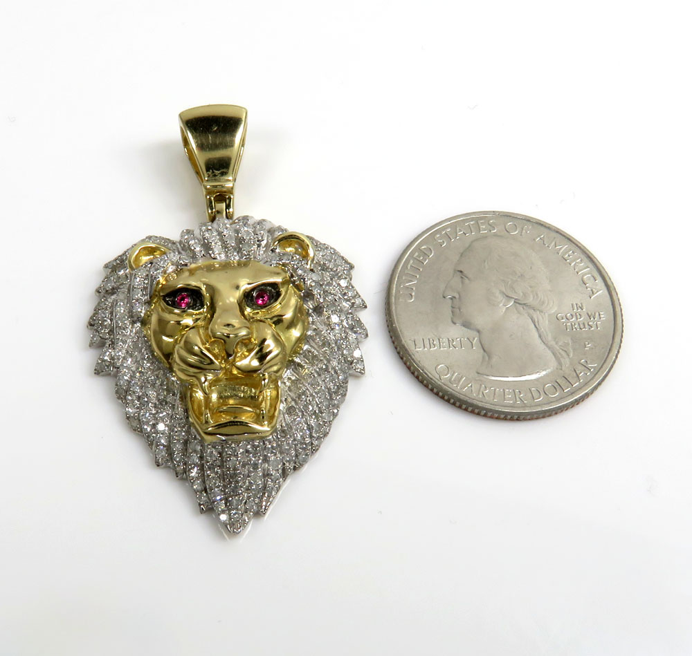 10k yellow gold large diamond lion pendant 1.08ct