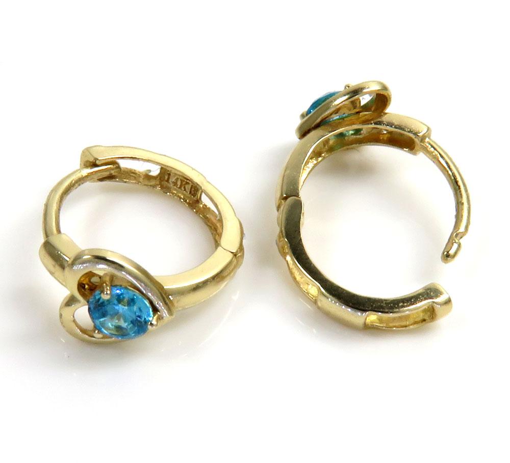 14k yellow gold kids aquamarine heart earrings 0.20ct