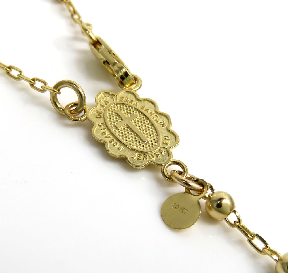 10k yellow gold smooth bead womens/kids rosary chain 17
