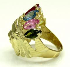 Mens 14k yellow gold multi cz ruby indian chief ring