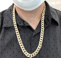 10k yellow gold diamond cut miami hollow chain 11m 26