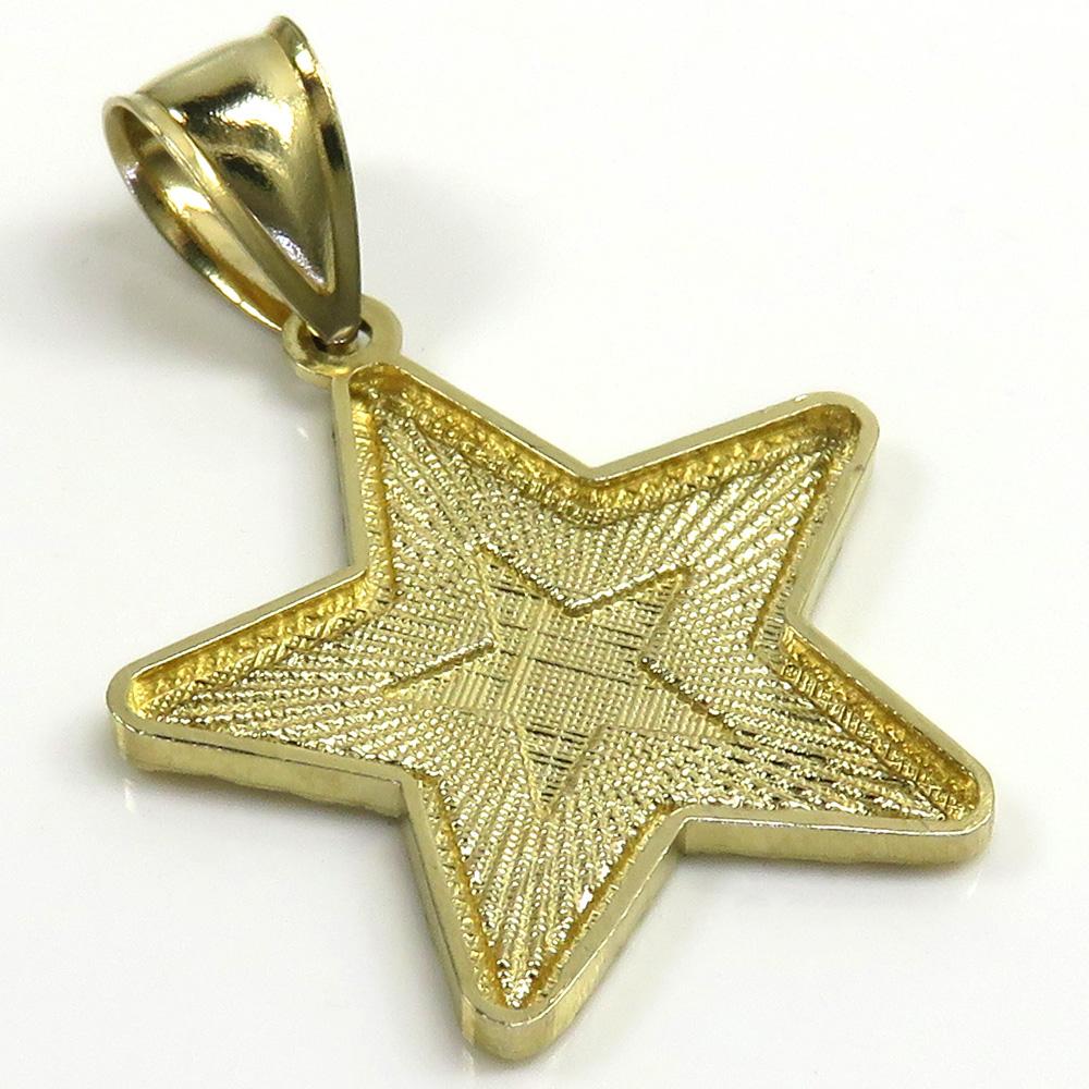 14k yellow gold diamond cut star pendant