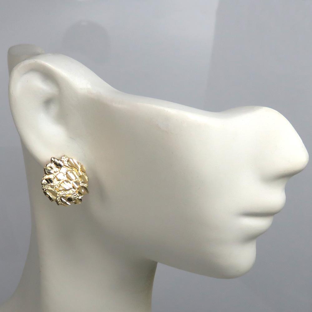 10k yellow gold medium nugget earrings