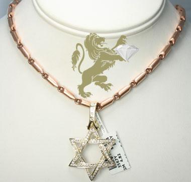 1.00ct 14k yellow gold diamond star of david pendant