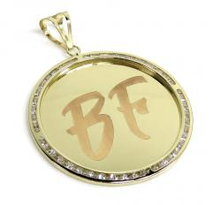 10k yellow gold large cz picture pendant 1.75ct