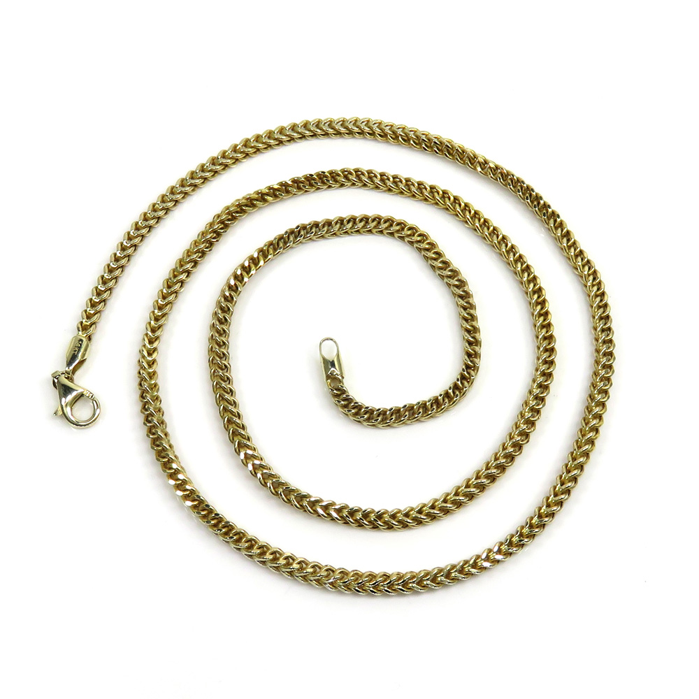 14k yellow gold hollow box franco chain 24 inch 3mm
