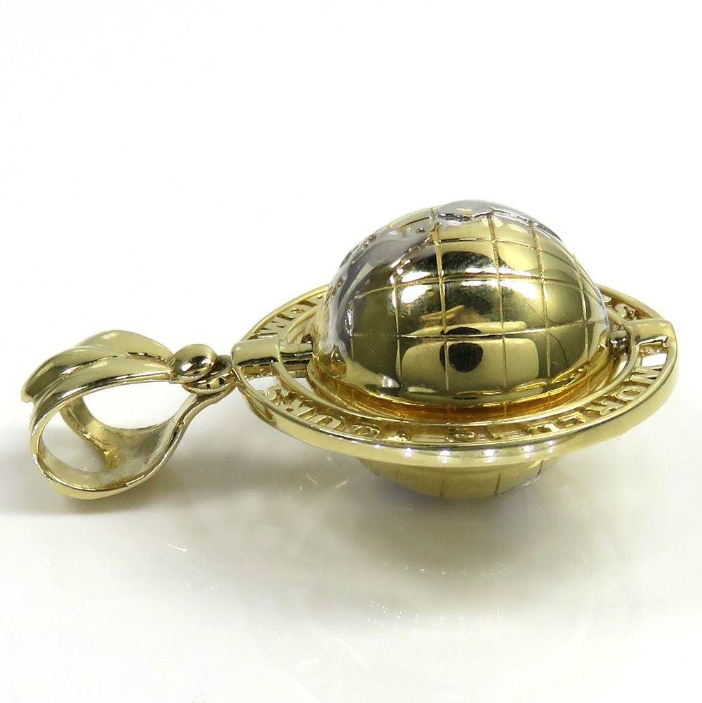 14k yellow gold the world is yours spinning globe small pendant