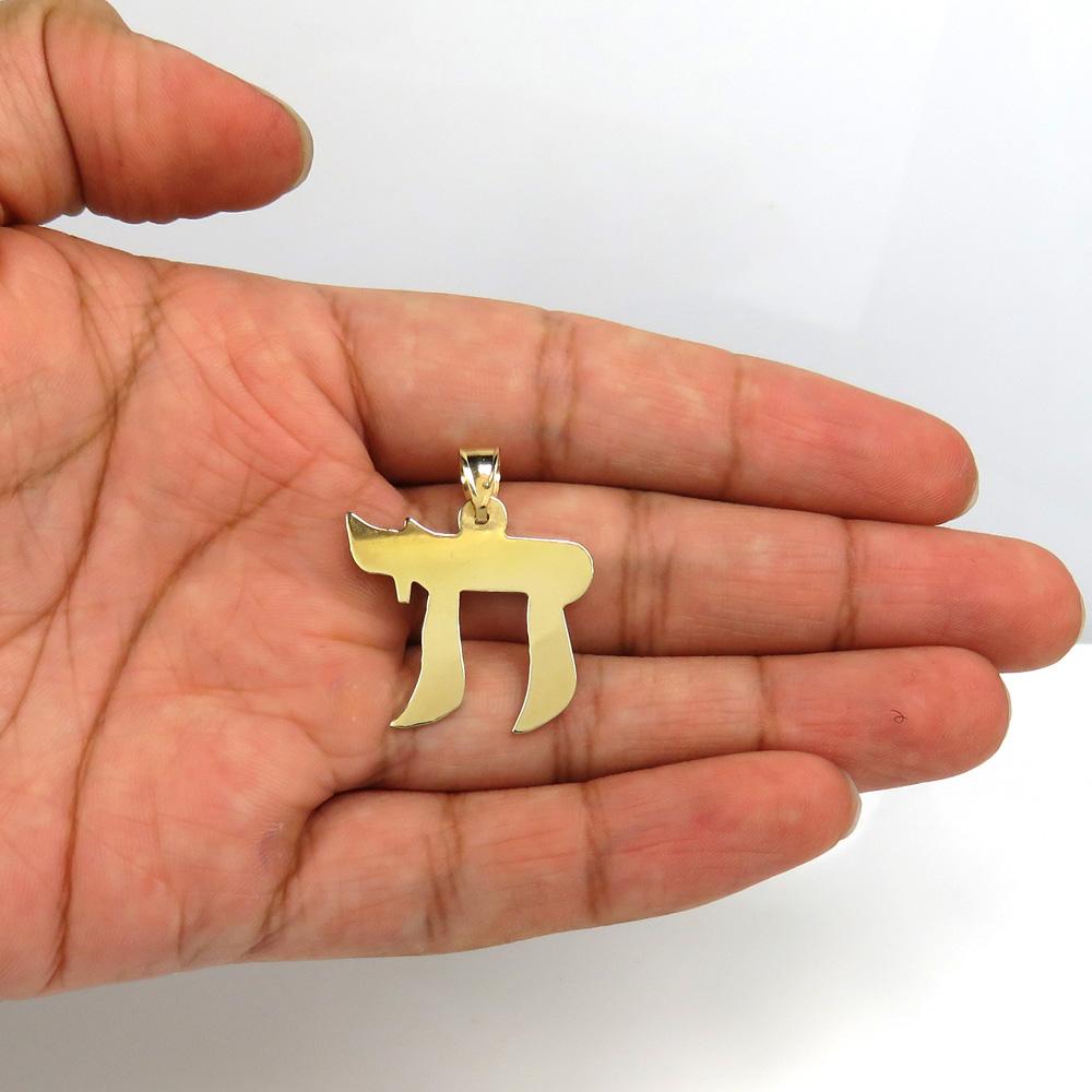 14k yellow gold smooth solid medium chai pendant