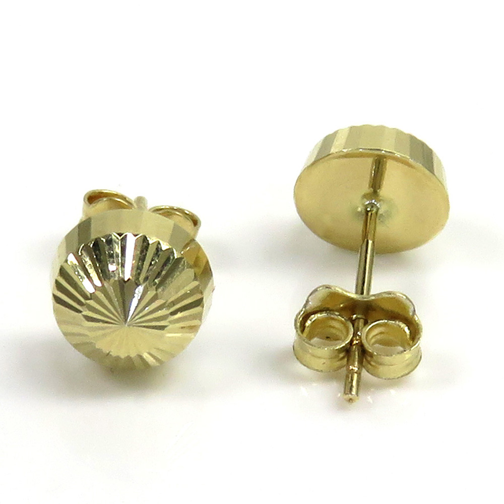 14k yellow gold diamond cut 7.8mm sphere earrings