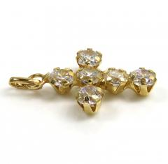 14k yellow gold mini cz cross pendant 1.50ct