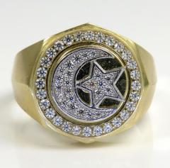 10k two tone gold cz islam crescent moon and star religious ring 1.50ct