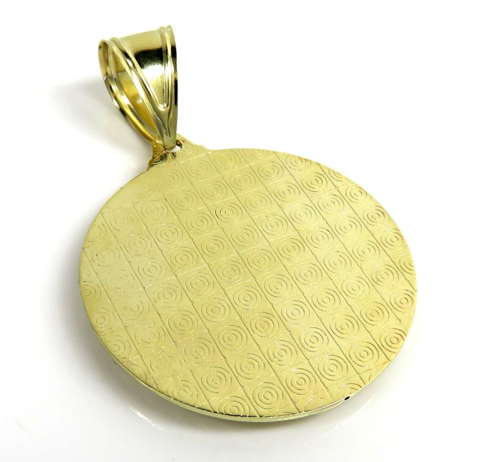 10k yellow gold medium santa barbara red cz pendant 0.10ct