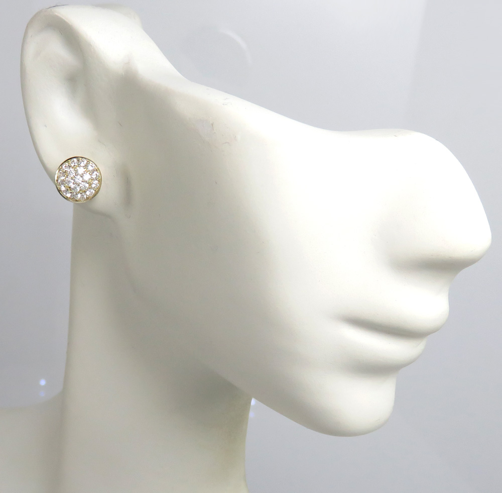 10k yellow gold cz snow cap 8.2mm earrings 1.00ct