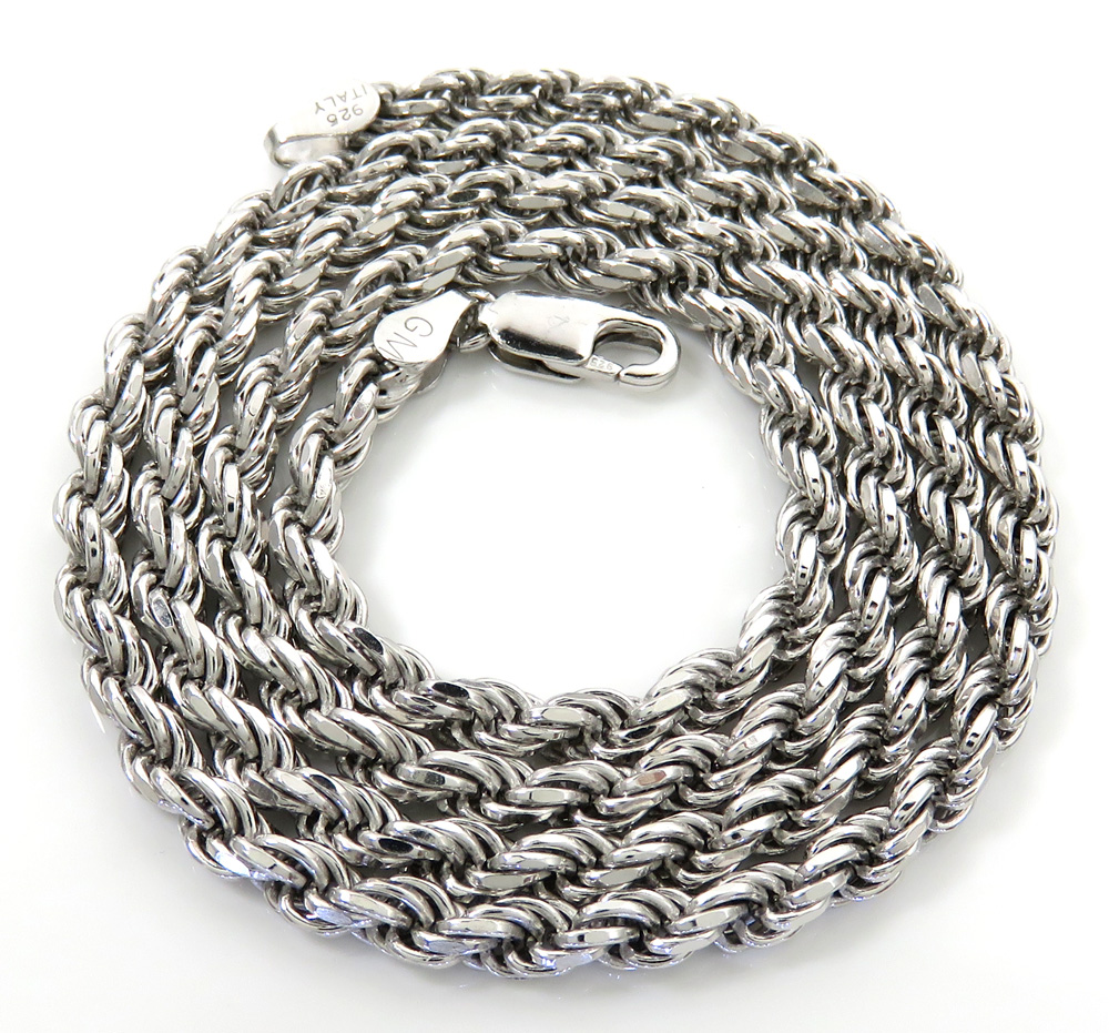 925 white sterling silver rope link chain 20 inch 3.80mm