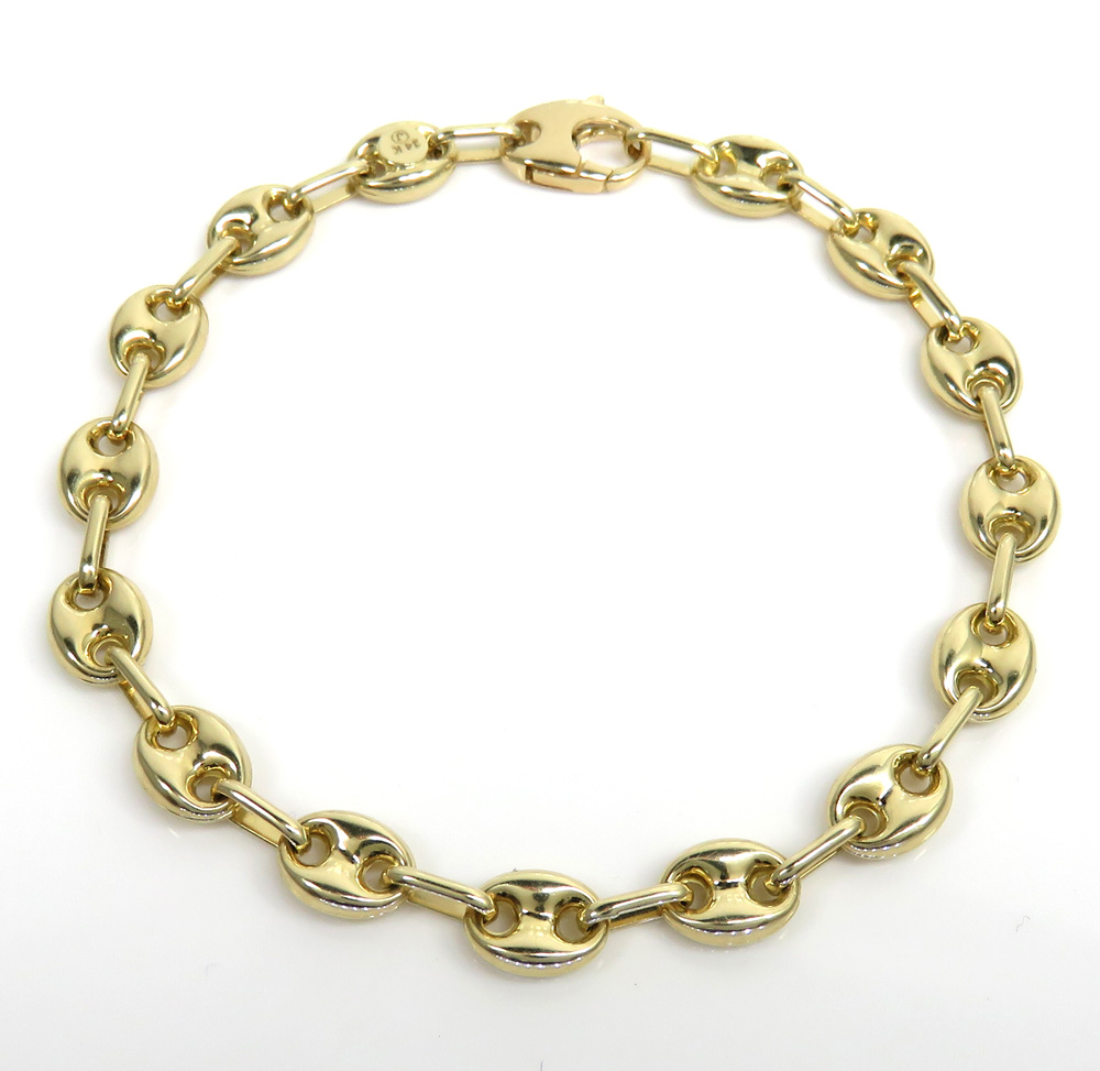 14k yellow gold hollow gucci puffed link bracelet 7.20mm 8.25