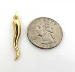 10k yellow gold small italian horn pendant