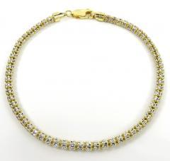 10k two tone gold diamond cut ice link bracelet 8