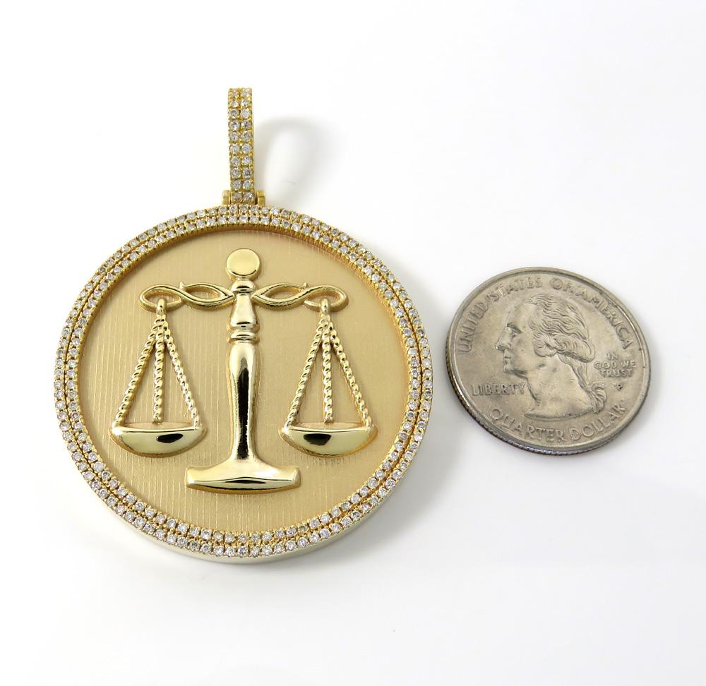 10k gold two row diamond libra scale pendant 1.50ct