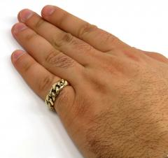 10k yellow gold 7.50mm hollow miami cuban link ring