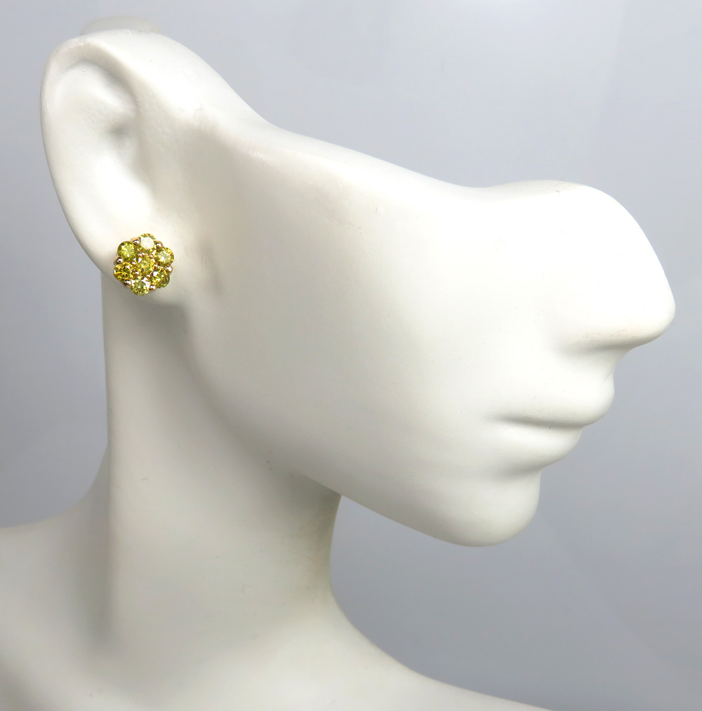 14k yellow gold round 14 diamond cluster 8mm earrings 1.00ct