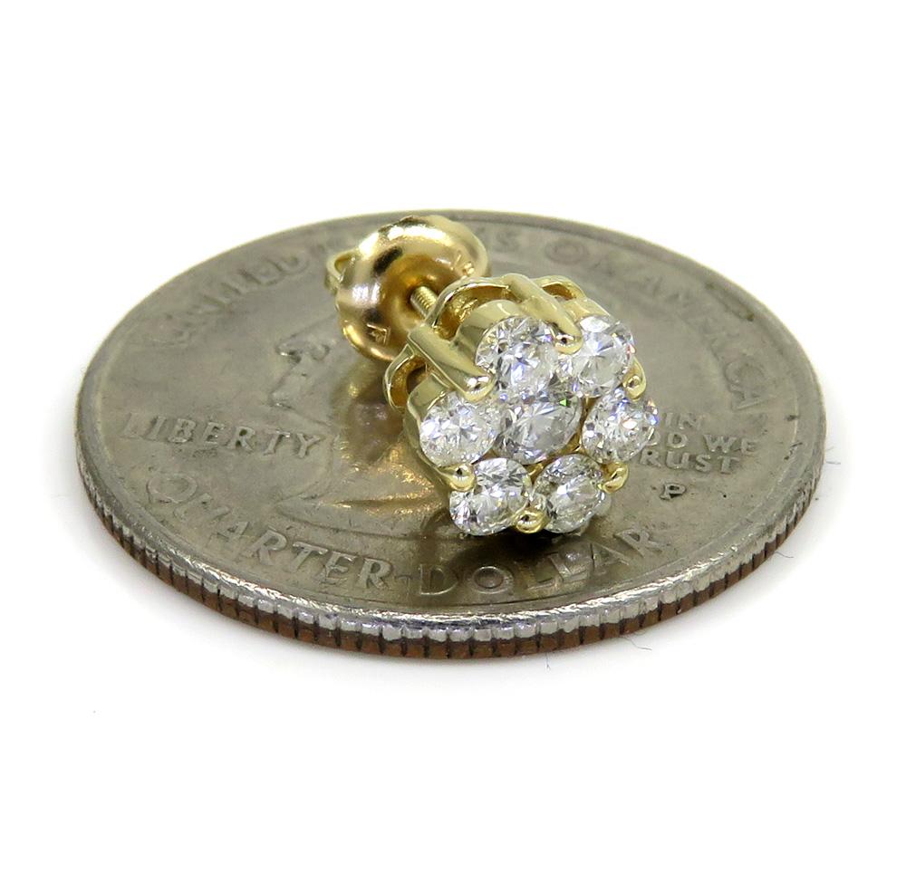 14k yellow gold 7mm diamond single cluster earring 0.50ct